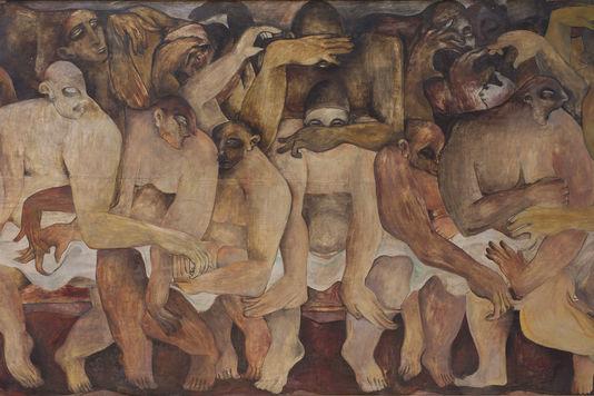 Rateb Seddik, Sans titre, vers 1940, Huile sur bois, 120 x 220 cm, Musée Rateb Seddik, Le Caire