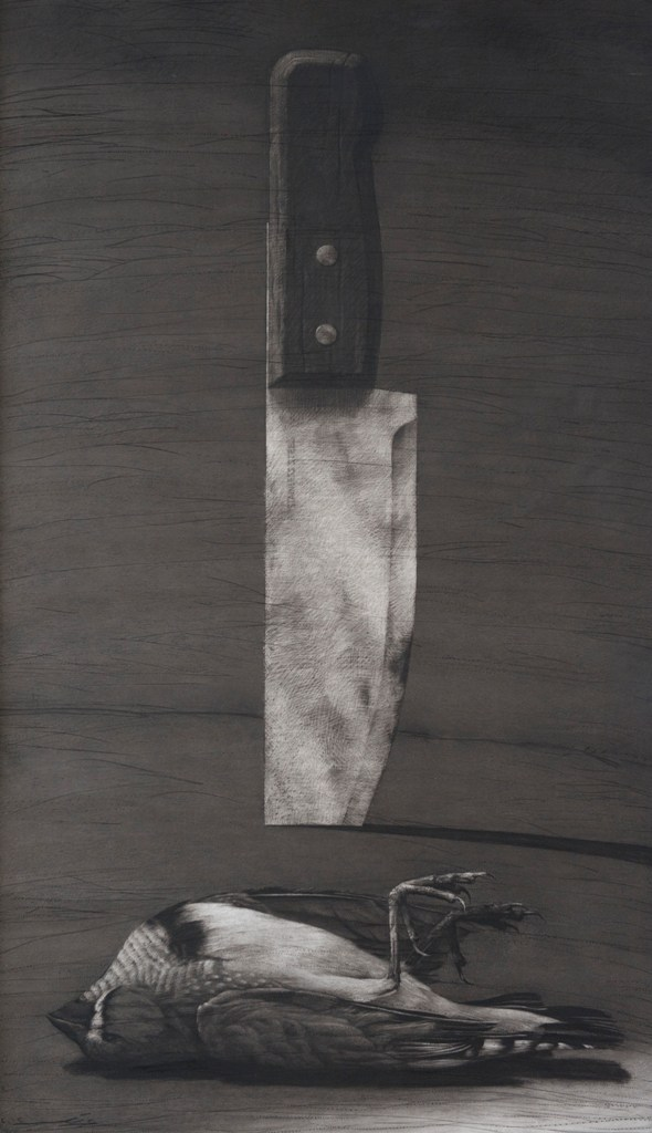Youssef Abdelké, Le couteau et l'oiseau. 2012. Fusain sur papier, 190 x 50 cm. © Youssef Abdelké. Courtesy Galerie Claude Lemand, Paris