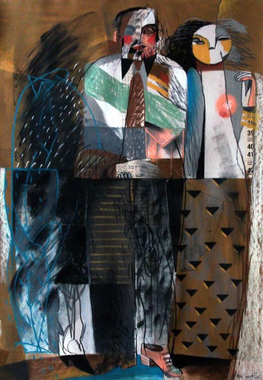 Youssef Abdelke - Figures 9 - 1992. Pastel et collage sur papier 100 x 70 cm. Collection privée. © Youssef Abdelké - Courtesy Galerie Claude Lemand - Paris