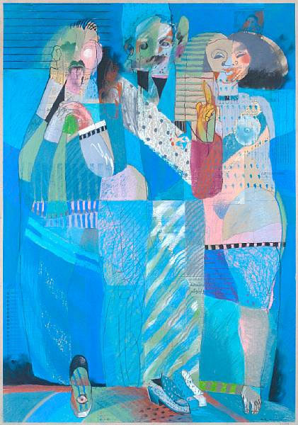 Youssef Abdelke, Figures. 1993  Figures, 1993. Pastel et collage sur papier, 100 x 70 cm. Collection privée. © Youssef Abdelké. Courtesy Galerie Claude Lemand, Paris