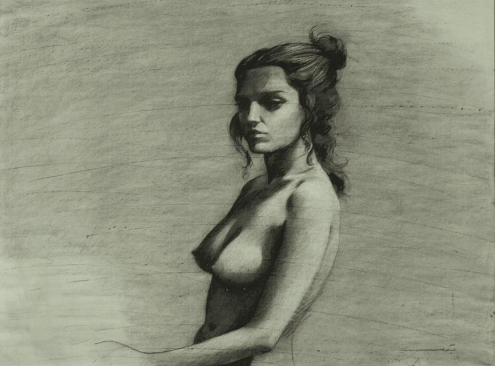 Youssef Abdelké, Nu 1, 2015. Fusain sur papier, 50 x 65 cm. © Youssef Abdelke. Courtesy Galerie Claude Lemand, Paris