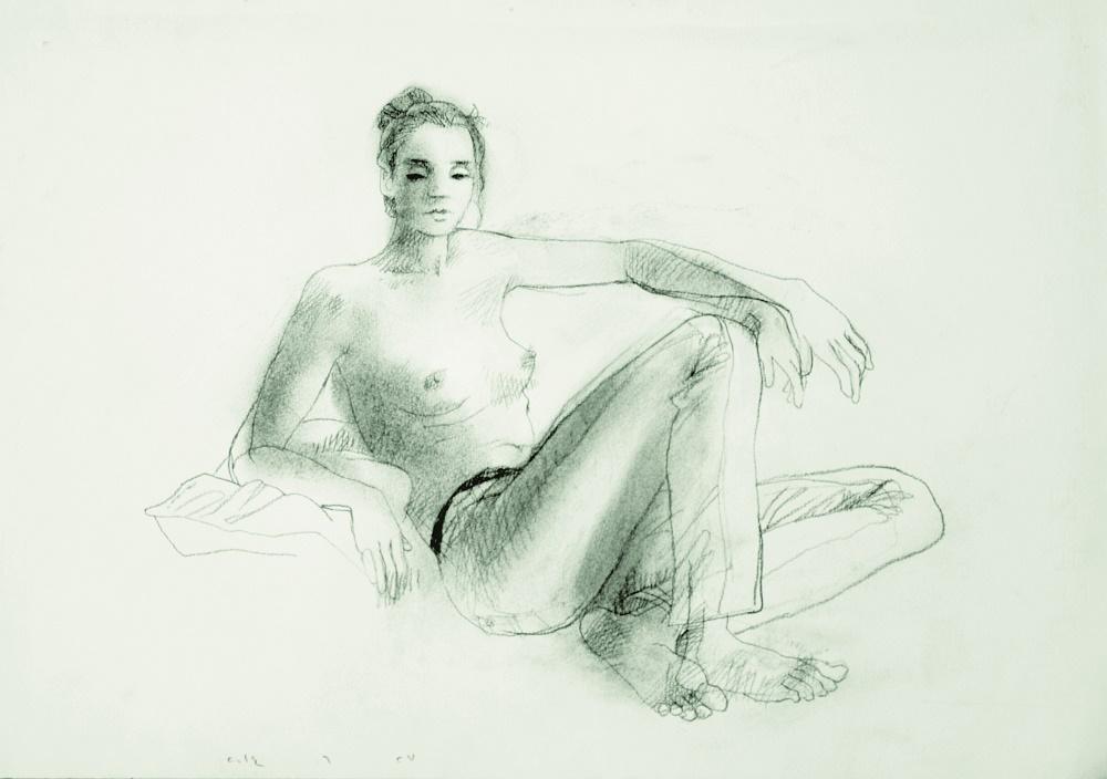 Nu 1, 2015. Fusain sur papier, 50 x 70 cm. © Youssef Abdelke. Courtesy Galerie Claude Lemand, Paris.jpeg