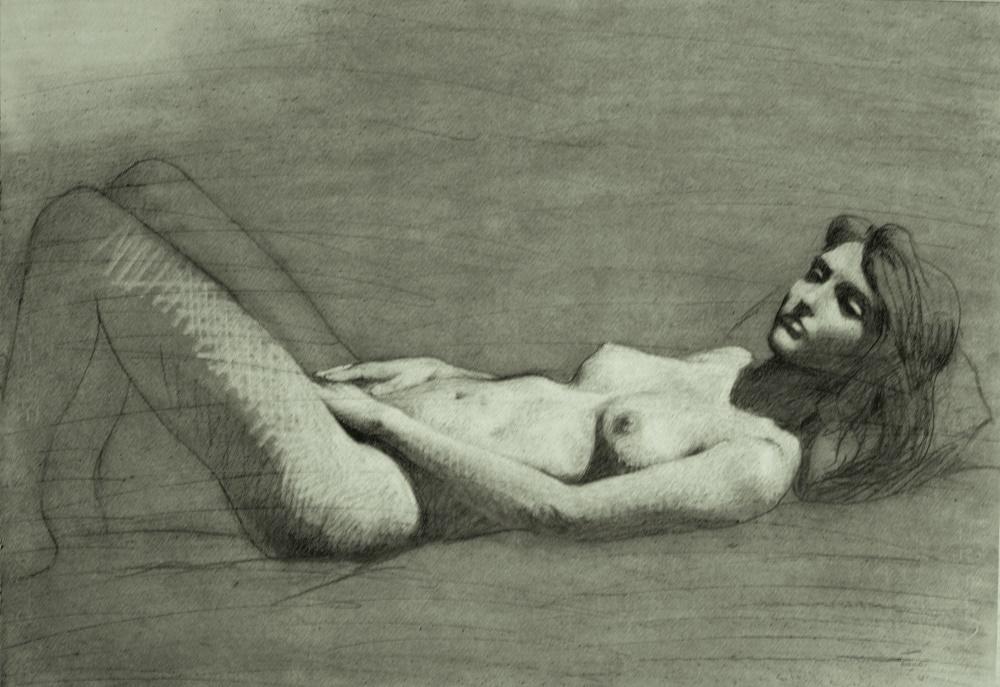 Nu 2, 2015. Fusain sur papier, 50 x 70 cm. © Youssef Abdelke. Courtesy Galerie Claude Lemand, Paris.jpeg