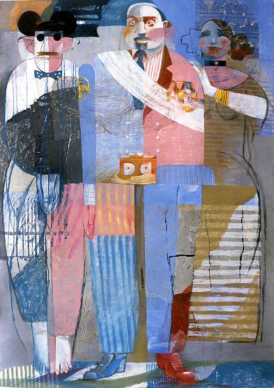 Youssef Abdelké, Figures 4, 1992. Pastel et collage sur papier, 150 x 110 cm. Collection privée. © Youssef Abdelké. Courtesy Galerie Claude Lemand, Paris